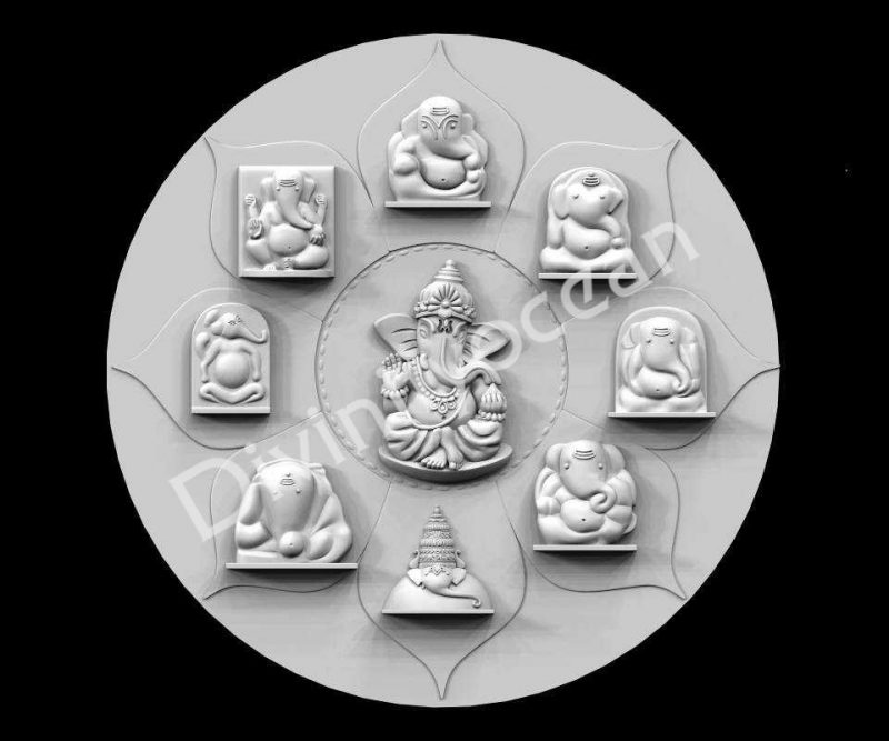Eight Ganesha Theme 1 Wall Hanging