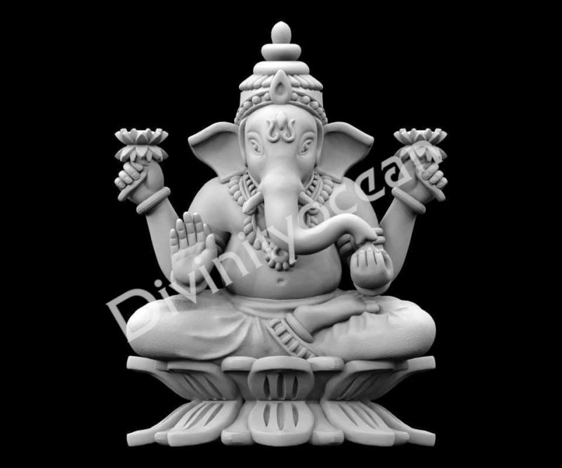 Ganesha on Lotus Idol